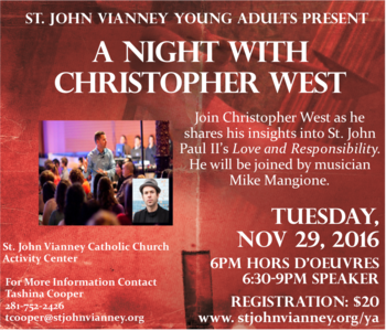 Christopher West:Guest speaker @ St. John Vianney