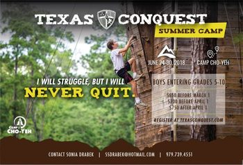Texas Conquest @ Camp Cho-Yeh (Boys entering grades 5th-10th)