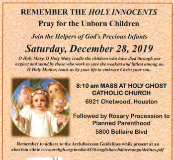 Action: Remembrance of the Holy Innocence @ Holy Ghost Catholic Church