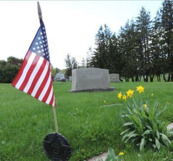 Flags at Mt. Pleasant Catholic Cemetery