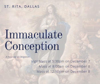 Vigil Mass: Immaculate Conception, Holy Day of Obligation