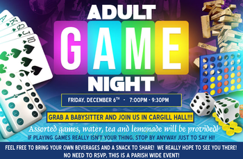 Adult Game Night Tonight, Friday, December 6th