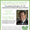 Free Concert with Mark Forrest, Renown Irish Tenor Oct 12th-13th