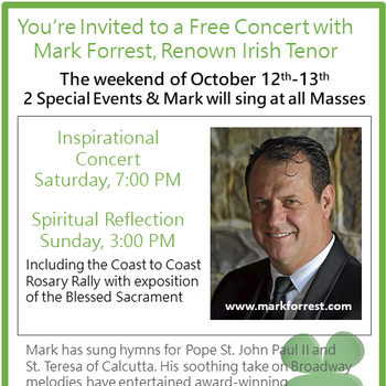 Free Concert with Mark Forrest, Renown Irish Tenor