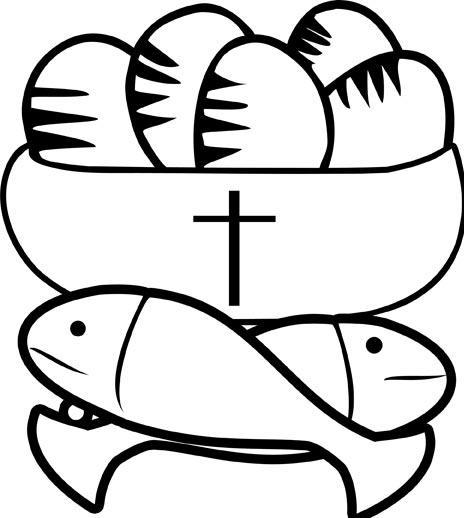 2 fish and 5 loaves of bread coloring page coloring pages for Five loaves and two fishes coloring page