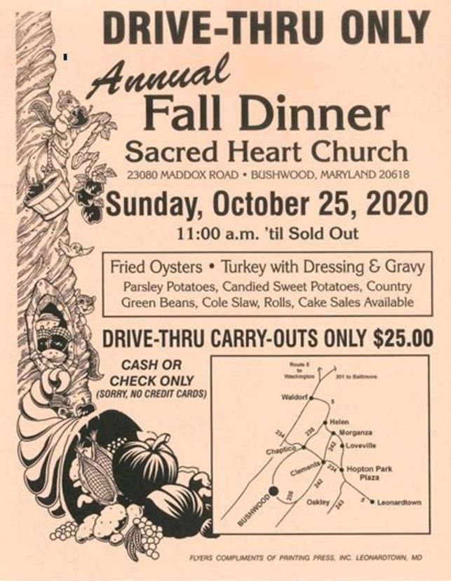 Sacred Heart Fall Dinner Drive-Thru Only Flyer with Date Time Price and Menu