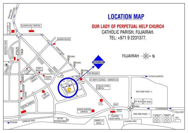 Location Map Our Lady of Perpetual Help Church Fujairah