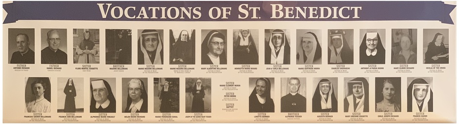 Banner of 30 photos of the priests and religious sisters from St. Benedict