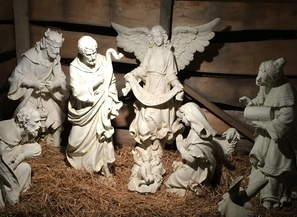 Outdoor nativity scene at night