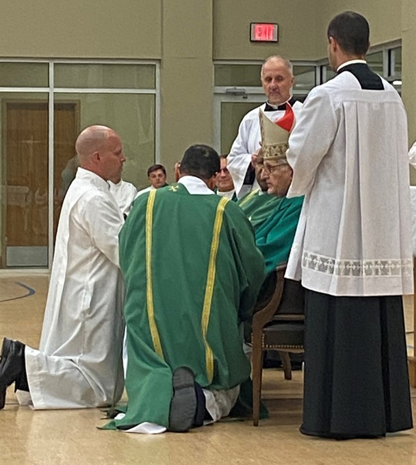 Tom Spicer being installed as an Acolyte by Archbishop FIorenza on Janauary 18, 2020. Please continue to pray for Tom and his wife Katie as he prepares for Ordination to the Permanent Diaconate in January 2021.