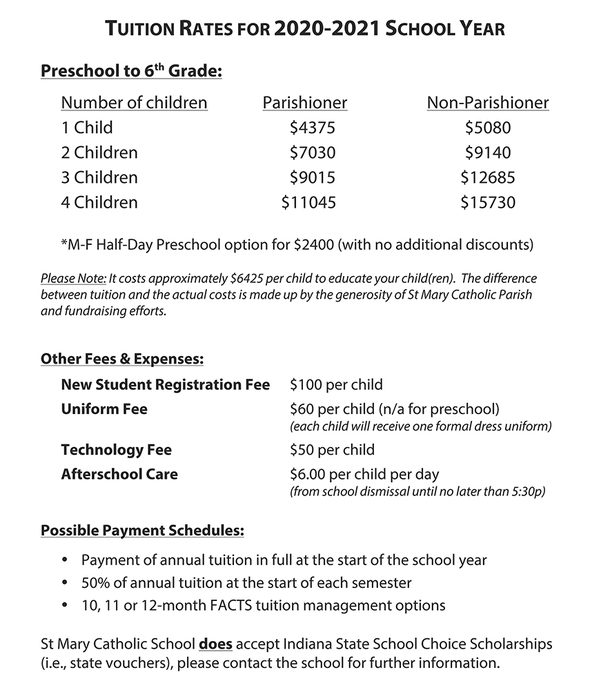 Tuition for 2020-2021 School Year