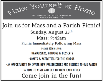Make Yourself at Home Mass and Parish Picnic