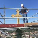 September 2015 Msgr. Mark Giordani Climbs to the Top of the Bell Tower!