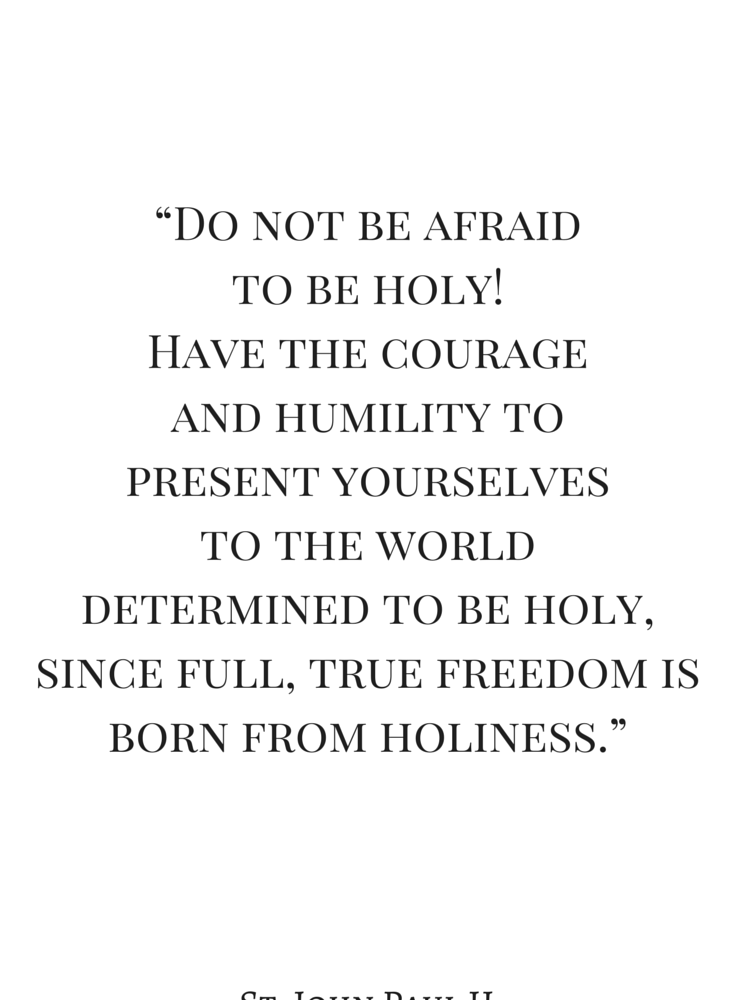 Do not be afraid to be holy! Have courage and humility to present yourselves to the world determined to be holy, since full, true freedom is born from holiness.
