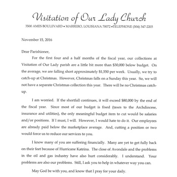A Letter from Fr. Mike