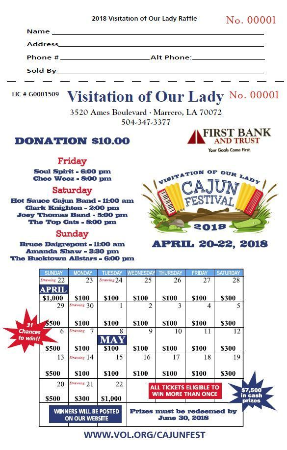 Raffle Tickets Visitation Of Our Lady Catholic Church Marrero LA