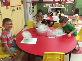 Students enjoy green eggs and ham in honor of Dr. Suess Birthday in March