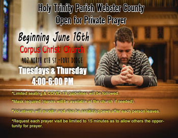 Open to Private Prayer Beginning June 16th!