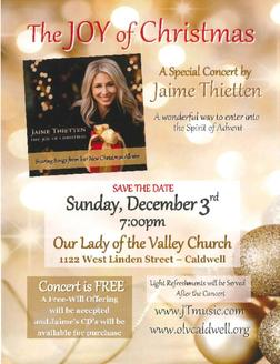 JAIME THIETTEN in a Special Concert at OLV on 12/3