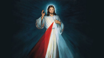 "Jesus appeared to St. Faustina in a vision, with his right hand raised in a blessing  and his left touching his garment above his heart. Red and white rays emanate from his heart,  symbolizing the blood and water that was poured out for our salvation and our sanctification. The Lord requested that ""Jesus, I trust in You"" be inscribed under his image. Jesus asked that his  image be painted and venerated throughout the world: ""I promise that the soul that will venerate  this image will not perish"" (Diary, no. 48) and ""By means of this image I will grant many graces  to souls"" (Diary, no. 742)."