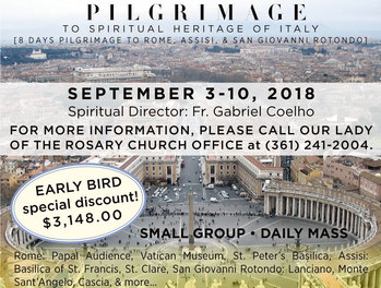 PILGRIMAGE TO SPIRITUAL HERITAGE OF ITALY on September 3-10, 2018