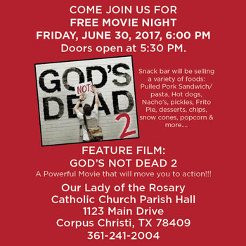 FREE Movie Night at Our Lady of the Rosary Catholic Church Parish Hall | June 30, 6 PM