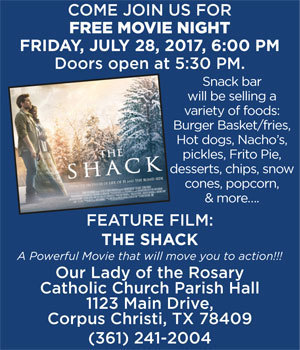 FREE Movie Night | The SHACK at Our Lady of the Rosary  Catholic Church Parish Hall