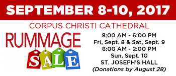 Corpus Christi Cathedral Rummage Sale on September 8-10, 2017