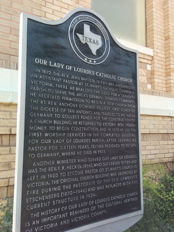 Our Lady of Lourdes historical marker outside the church