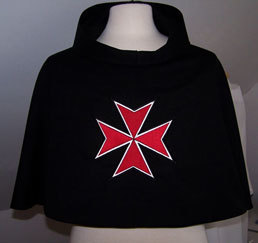 Custom-designed stiff-hooded capuche with red on white Maltese Cross