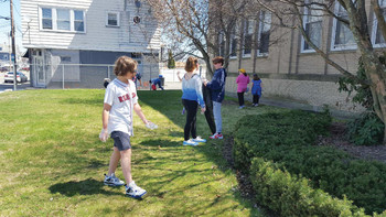 Earth Day clean up at St. Cecelia School