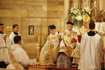 Kazakhstan bishop ordains new F.S.S.P. priest at St. Mary Parish