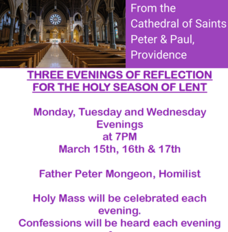 THIS WEEK: Cathedral of SS Peter & Paul Lenten Evenings of Reflection