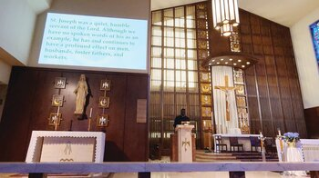 At talk, Father Brice reflects on St. Joseph as a Model for Young Men