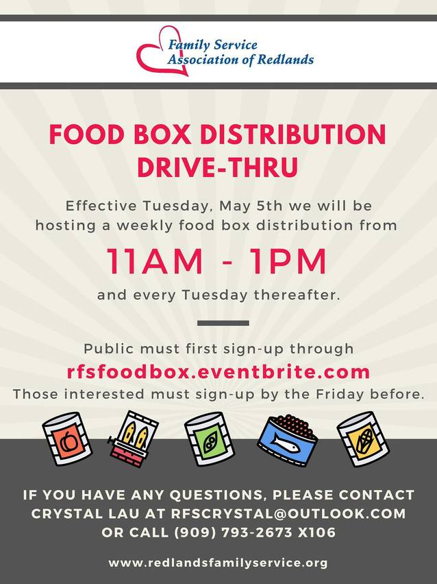 family service food distribution on tuesdays, call by friday to sign up