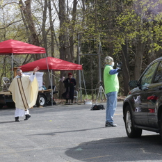 Parking lot Mass held in Gardner