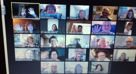 HFCA Faculty and Staff send greetings from their online meeting.
