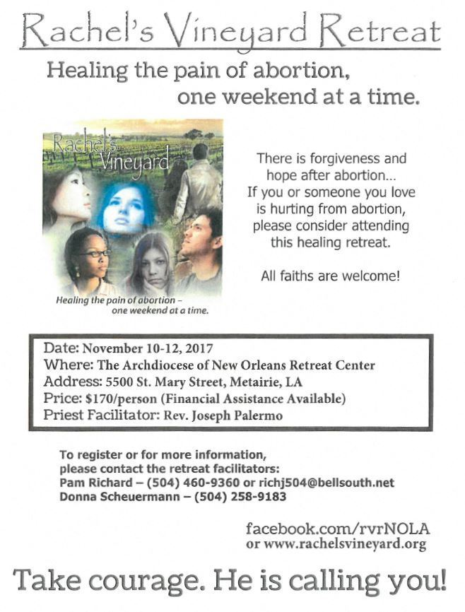 Rachel's Vineyard Retreat (Flyer) - St  Charles Borromeo