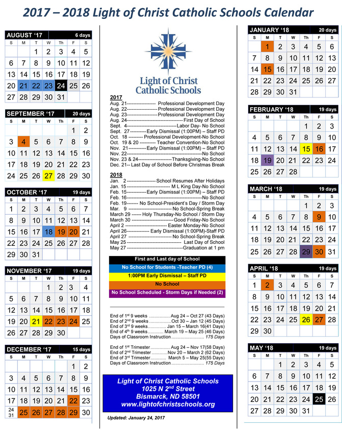 Picture of the 2017-2018 School Year Calendar