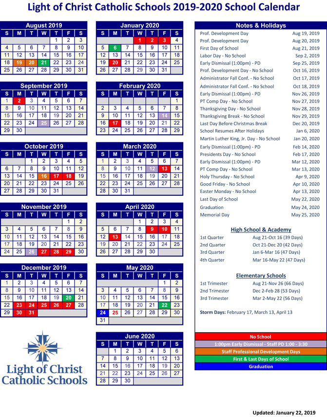 2019-2020 Light of Christ Catholic Schools Calendar
