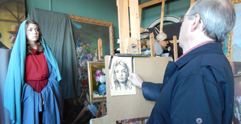 "Artist James Sulkowski begins painting ""Mary, Ark of The New Covenant"""