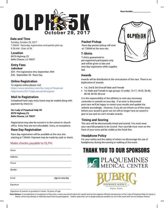 OLPH 5K registration flyer 2017