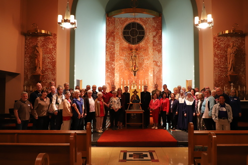 Pilgrims and Bishop Daly at Sacred Heart Hospital Chapel