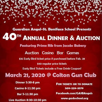 CANCELED 40th Annual Dinner & Auction - Guardian Angel-St Boniface School