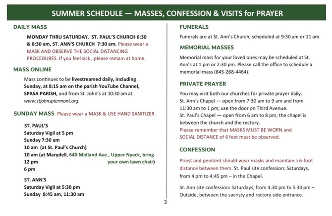 New Mass Summer Schedule 2020 - New St Paul Church