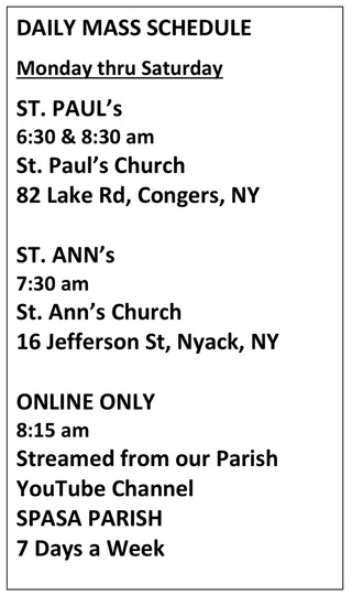 Daily Mass Schedule