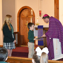 Bishop Spalding visits St. Patrick School