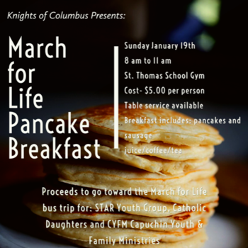 K of C Pancake Breakfast - Jan. 19, 8-11 am