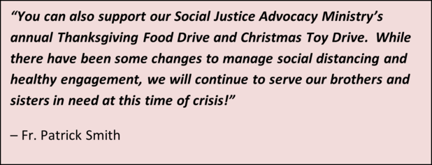 Fr Pat Food Drive quote