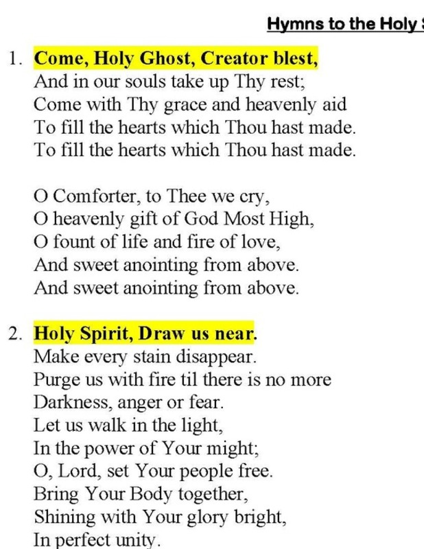 Hymns and Novena to The Holy Spirit (click)